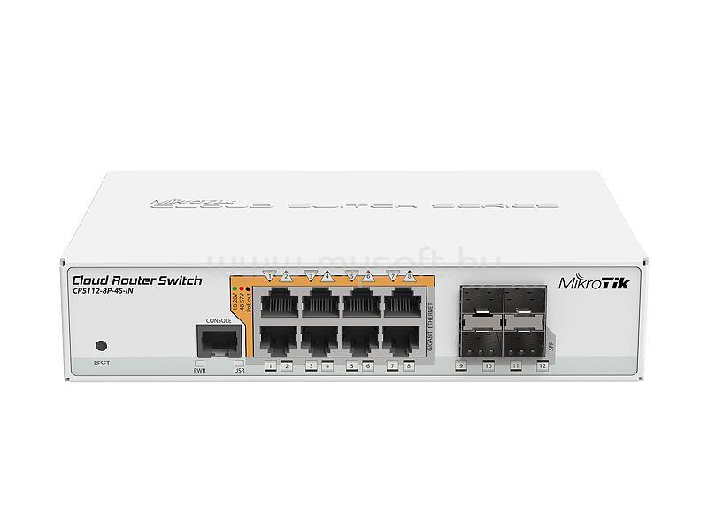 MIKROTIK Cloud Router Switch CRS112-8P-4S-IN  Desktop kivitel
