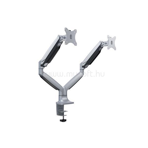 """MULTIBRACKETS karos asztali rögzítő Gas Spring Dual, dönthető, forgatható 15-27"""", ezüst"""