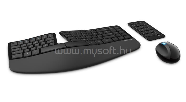 MICROSOFT Desktop Sculpt Ergonomic Vezeték nélküli billentyűzet és egér (fekete) - magyar
