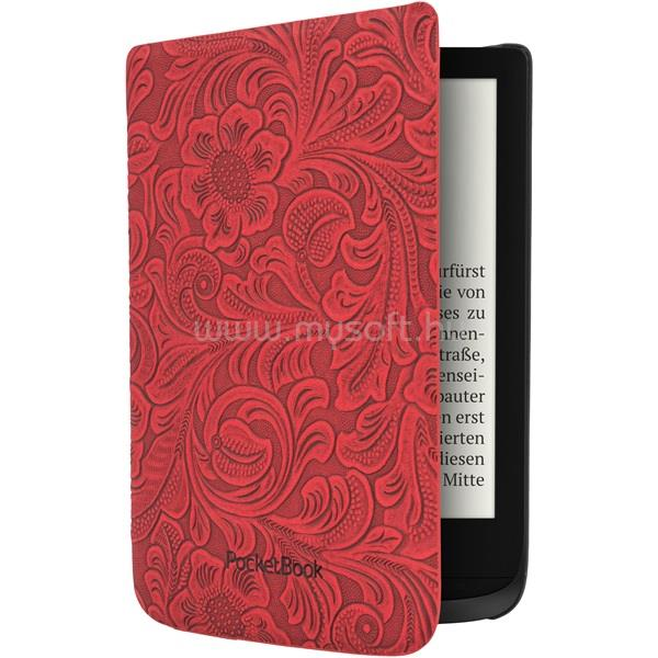 """POCKETBOOK e-book tok -  Shell 6"""" (Touch HD 3, Touch Lux 4, Basic Lux 2) Piros, virágmintával"""