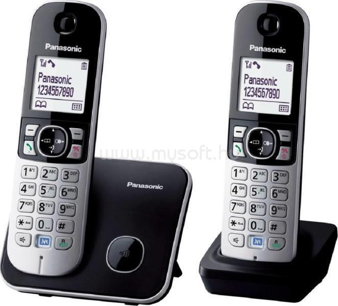 PANASONIC KX-TG6812PDB DUO fehér háttérvil. kihangosítható hívóazonosítós fekete dect telefon