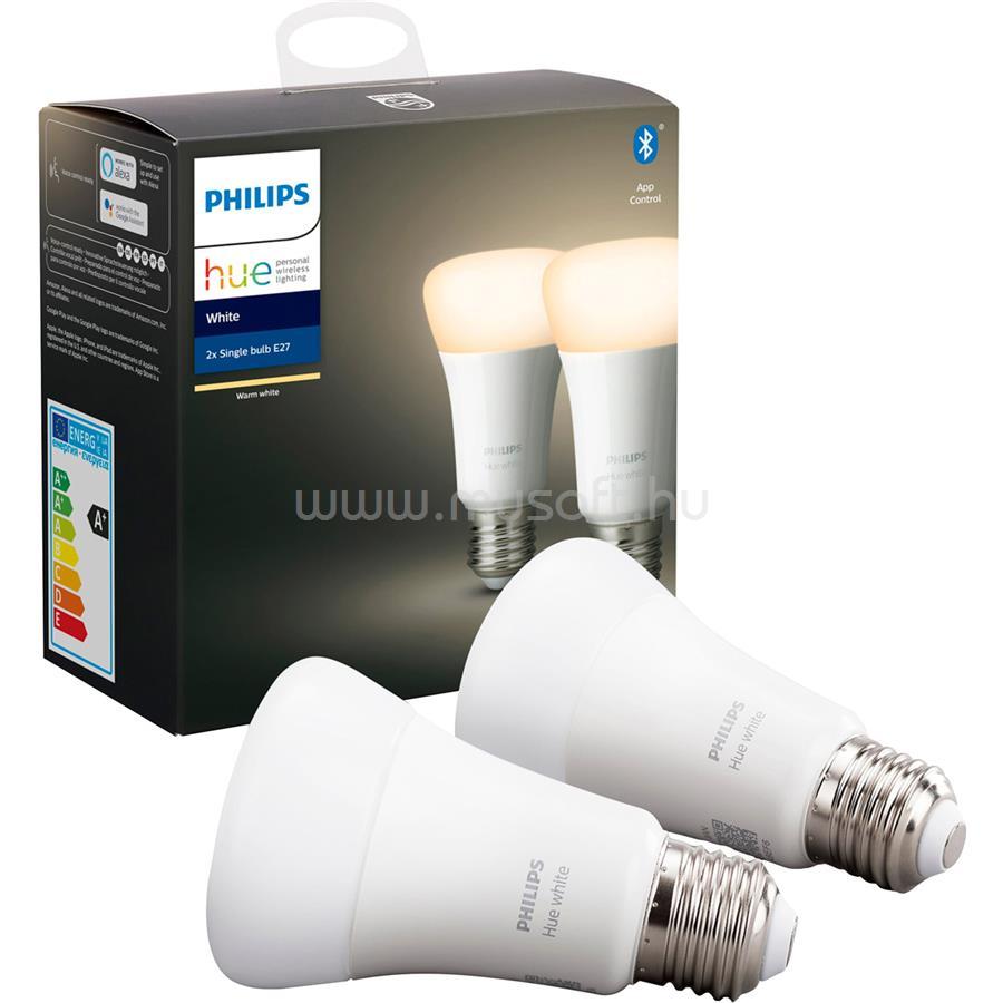 PHILIPS HUE E27 9W intelligens LED fényforrás (2db-os csomag)