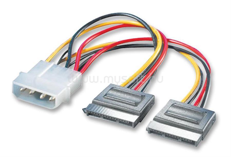 ROLINE kábel SATA táp Y elosztó, Molex to 2xSATA, 20cm