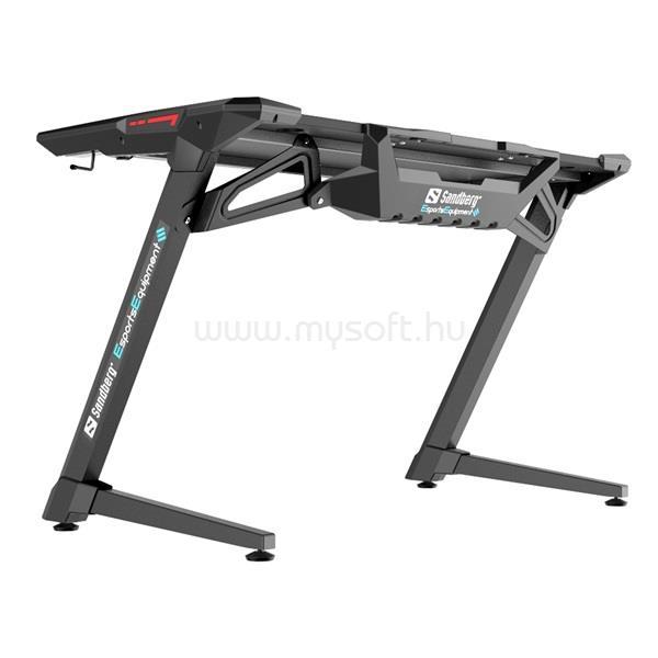 SANDBERG Gamer Asztal - Fighter Gaming Desk 2 (Fa lap, fém lábak; fekete; 120x64x77 cm)