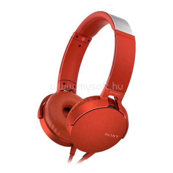 SONY MDRXB550APR.CE7 extra bass piros fejhallgató