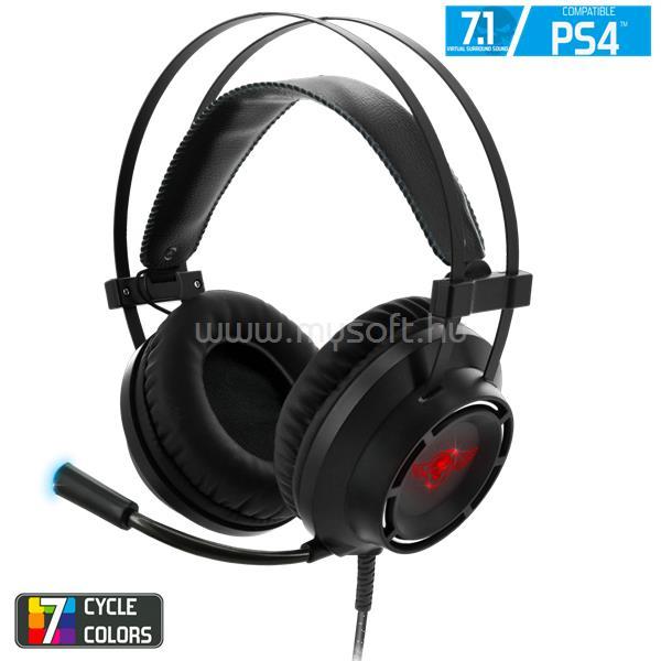 SPIRIT OF GAMER Fejhallgató - ELITE-H70 PS4 (PC/PS4, 7.1, mikrofon, USB, hangerőszabályzó, nagy-párnás, fekete)