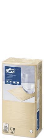 """TORK Szalvéta, 1/4 hajtogatott, 2 rétegű, 23,8x24 cm, Advanced, """"Cocktail"""", homokszín"""