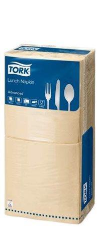 """TORK Szalvéta, 1/4 hajtogatott, 2 rétegű, 32x32 cm, Advanced, """"Lunch"""", homokszín"""