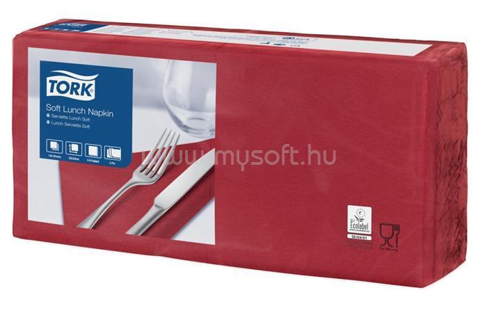 """TORK Szalvéta, 1/4 hajtogatott, 3 rétegű, 32,5x32,8 cm, Advanced, """"Soft Lunch"""", bordó"""