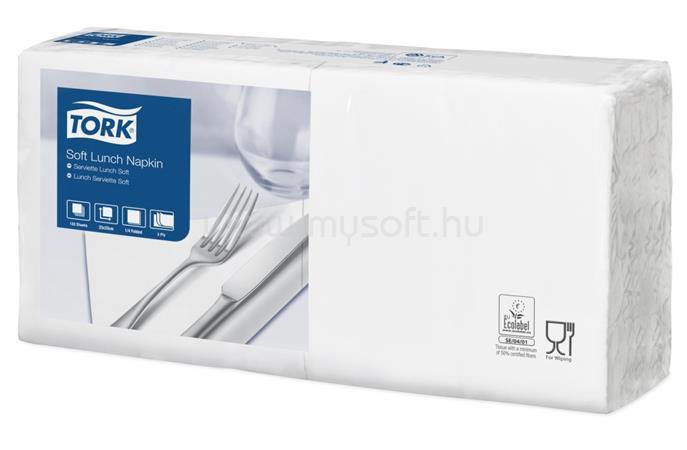 """TORK Szalvéta, 1/4 hajtogatott, 3 rétegű, 32,5x32,8 cm, Advanced, """"Soft Lunch"""", fehér"""