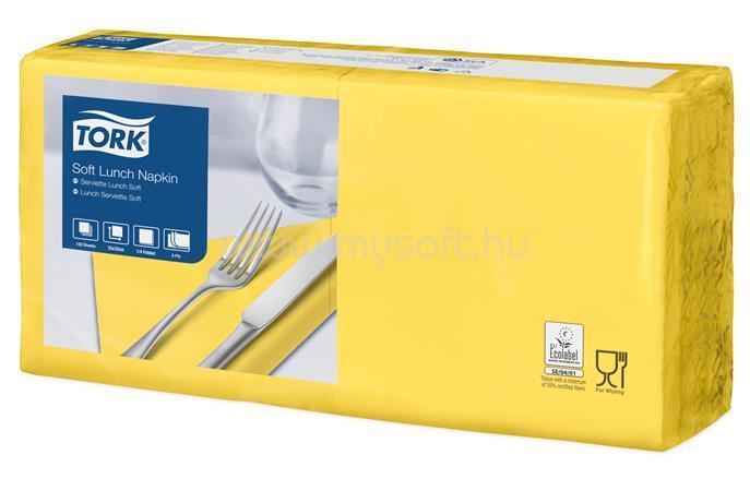 """TORK Szalvéta, 1/4 hajtogatott, 3 rétegű, 32,5x32,8 cm, Advanced, """"Soft Lunch"""", sárga"""