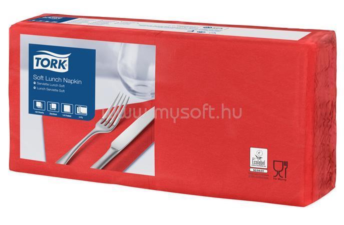 """TORK Szalvéta, 1/4 hajtogatott, 3 rétegű, 32,5x32,8 cm, Advanced, """"Soft Lunch"""", vörös"""