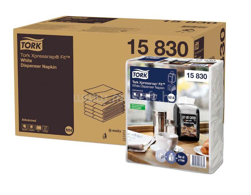 TORK N14 rendszer, Advanced Xpressnap Fit szalvéta, adagolós, 2 rétegű, 21,3x16,5 cm, fehér (720 db)
