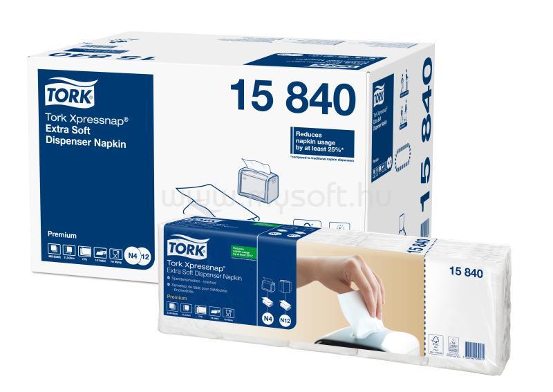 TORK N4 rendszer, Premium Xpressnap Extra Soft szalvéta, adagolós, 2 rétegű, 21,3x33 cm, fehér (500 db)