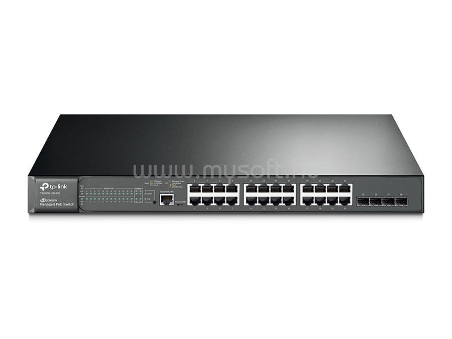 TP-LINK JetStream 24 csatlakozós gigabites L2 vezérelhető PoE+ Switch 4 SFP csatlakozással