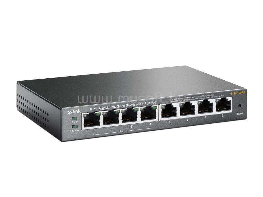 TP-LINK 8 portos Gigabites Easy Smart Switch 4 PoE csatlakozóval TL-SG108PE large