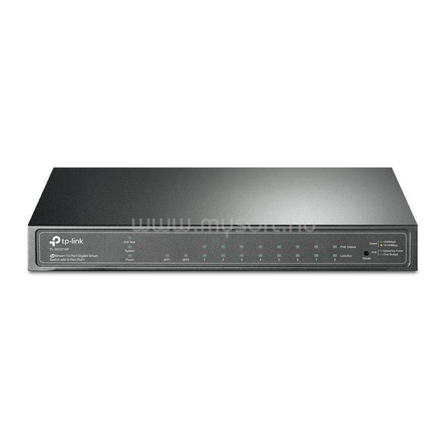 TP-LINK 8 portos gigabites Smart PoE switch 2 db SFP csatlakozóval (verzió: V3.20)