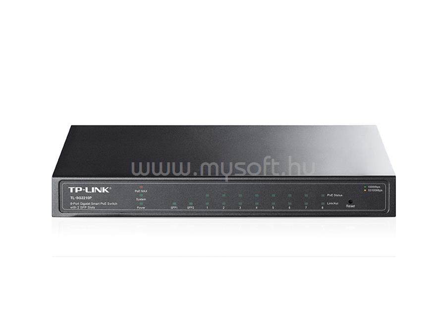 TP-LINK 8 portos gigabites Smart PoE switch 2 db SFP csatlakozóval