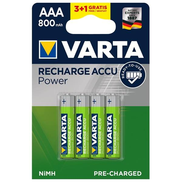 VARTA AAA 800mAh NiMh 3+1 db/bliszter  AAA 800mAh 3+1 Újratölthető akku