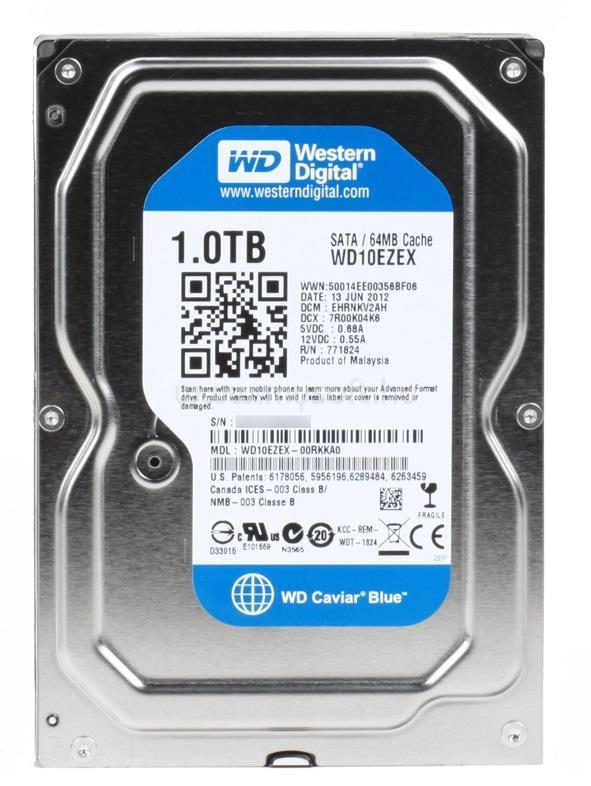 """WESTERN DIGITAL OEM HDD 1TB 3,5"""" SATA 7200RPM 64MB Cache Caviar Blue"""