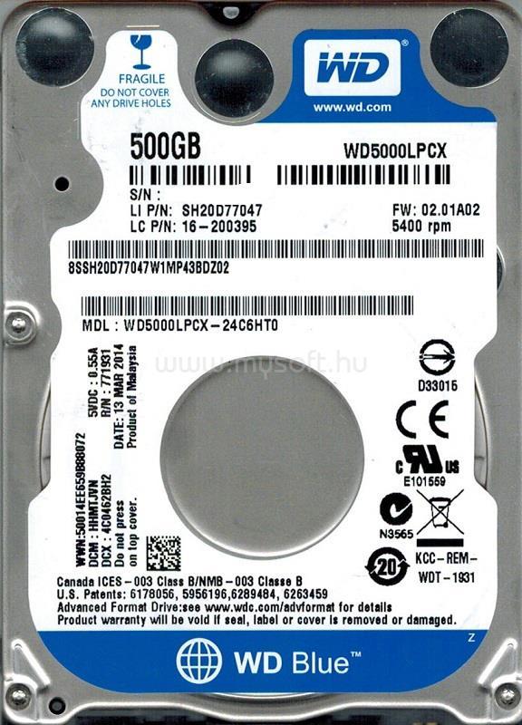 "WESTERN DIGITAL Blue 500GB 2,5"" 5400RPM 8MB SATA HDD"