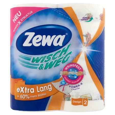 """ZEWA Háztartási papírtörlő, 2 rétegű, 2 tekercses, """"Wisch&Weg extra lang"""""""