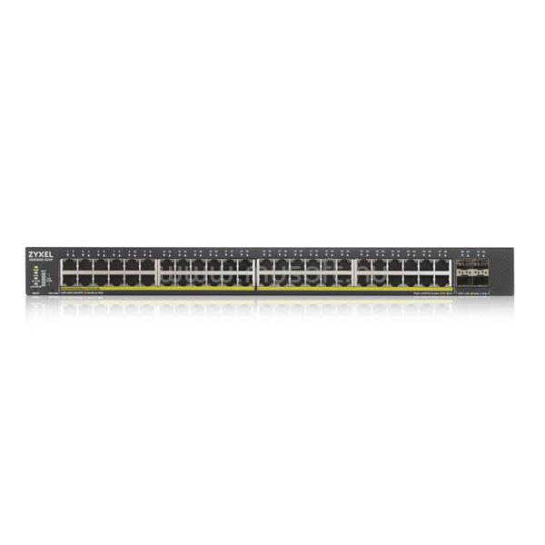 ZYXEL Switch 48x1000Mbps POE + 4X10GBE SFP + Hybird mode, Standalone or Nebulaflex Cloud menedzselhető (375W POE)