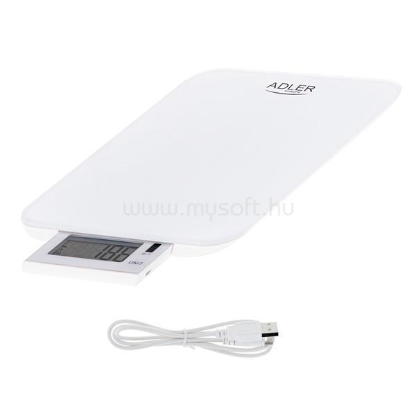 ADLER AD3167W tölthető kihúzható LCD kijelzős fehér konyhai mérleg