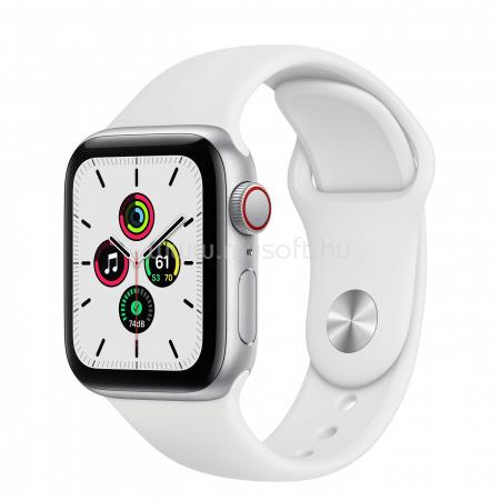 APPLE Watch SE GPS + Cellular, 40mm Silver Aluminium Case with White Sport Band