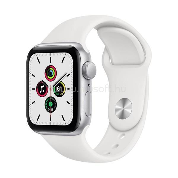 APPLE Watch SE GPS-es 40mm ezüst alumíniumtok fehér sportszíjas okosóra