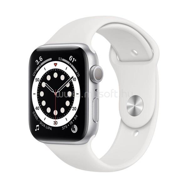 APPLE Watch Series 6 GPS-es 40mm ezüst alumíniumtok fehér sportszíjas okosóra