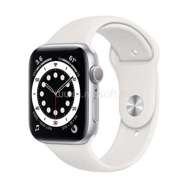 APPLE Watch Series 6 GPS-es 44mm ezüst alumíniumtok fehér sportszíjas okosóra