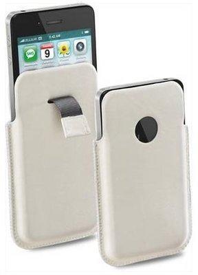 CELLULARLINE ELEGANCE, bőr, mobiltelefonhoz, Iphone 4, fehér tok