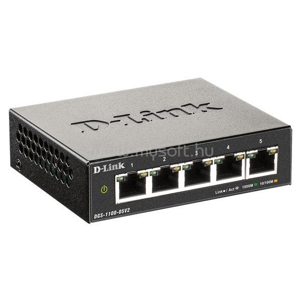 D-LINK Switch 5x1000Mbps Fémházas Asztali Menedszelhető, DGS-1100-05V2/E