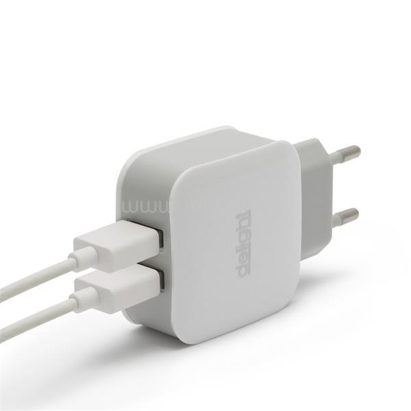DELIGHT Telefon töltő  - 2db USB, 5V/2.1A, Fehér
