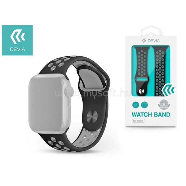 DEVIA ST324987 Apple Watch fekete/szürke szilikon sport óraszíj