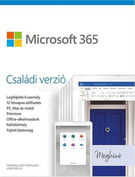 MICROSOFT 365 Családi csomag, 6 felhasználó (1 év)