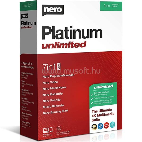 NERO 2021 Platinum Unlimited HUN ML dobozos szoftver