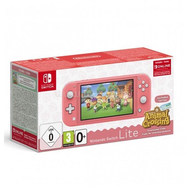 NINTENDO Switch Lite coral + Animal Crossing New Horizons + 3 hónap Online játékkonzol csomag