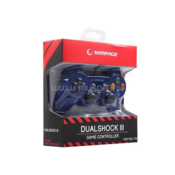 RAMPAGE Gamepad - SG-R602 Blue (USB, 1,8m kábel, PC ÉS PS3 kompatibilis, Kék) RAMPAGE_30494 large