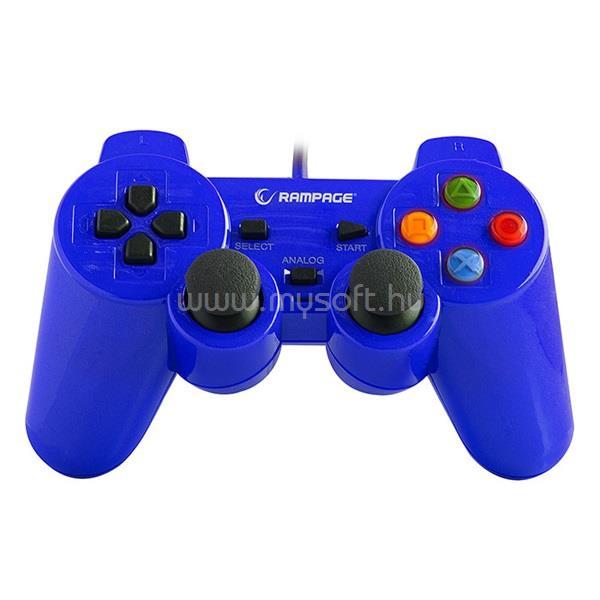RAMPAGE Gamepad - SG-R602 Blue (USB, 1,8m kábel, PC ÉS PS3 kompatibilis, Kék)