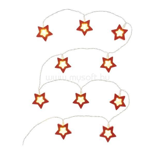RETLUX RXL 285 10 LED/2x AA/meleg fehér/piros csillagok karácsonyi fényfüggöny