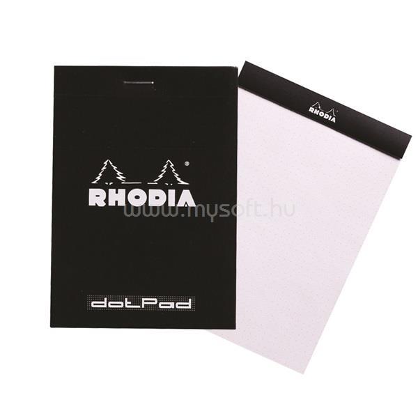 RHODIA A5 ponthálós 80lap fekete jegyzettömb
