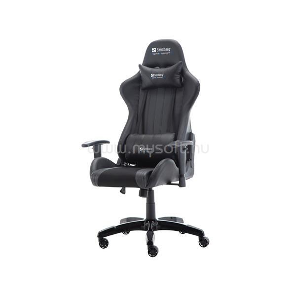 SANDBERG Gamer szék - Commander Gaming Chair (fekete; áll. dőlés/magasság; párnázott kartámasz; PU+szövet; max.150kg-ig)