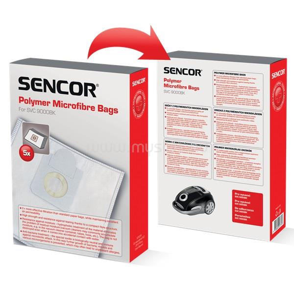 SENCOR SVC9000BK mikroszálas textil porzsák (5db-os csomag)