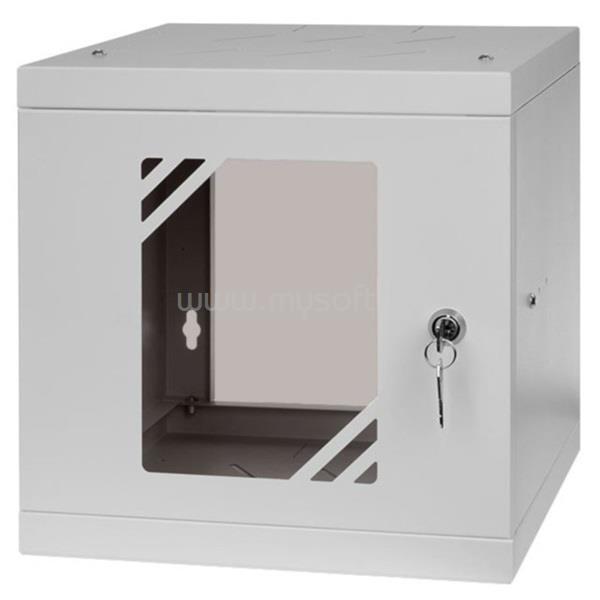 """STALFLEX RC10-6U-300GG 10"""" 6U 300 mm mély lapra szerelt szürke üveg ajtós fali rack szekrény"""
