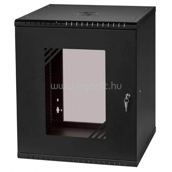 """STALFLEX RC19-12U-450GB 19"""" 12U 450 mm mély lapra szerelt fekete üveg ajtós fali rack szekrény"""