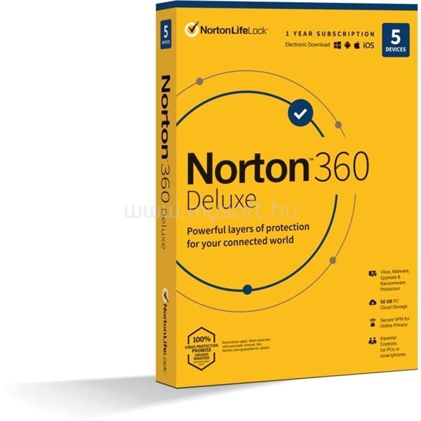 SYMANTEC Norton 360 Deluxe 50GB HUN 1 Felhasználó 5 gép 1 éves dobozos vírusirtó szoftver