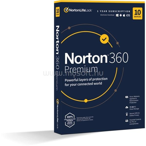 SYMANTEC Norton 360 Premium 75GB HUN 1 Felhasználó 10 gép 1 éves dobozos vírusirtó szoftver