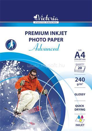 """VICTORIA Fotópapír, tintasugaras, A4, 240 g, fényes, """"Advanced"""""""